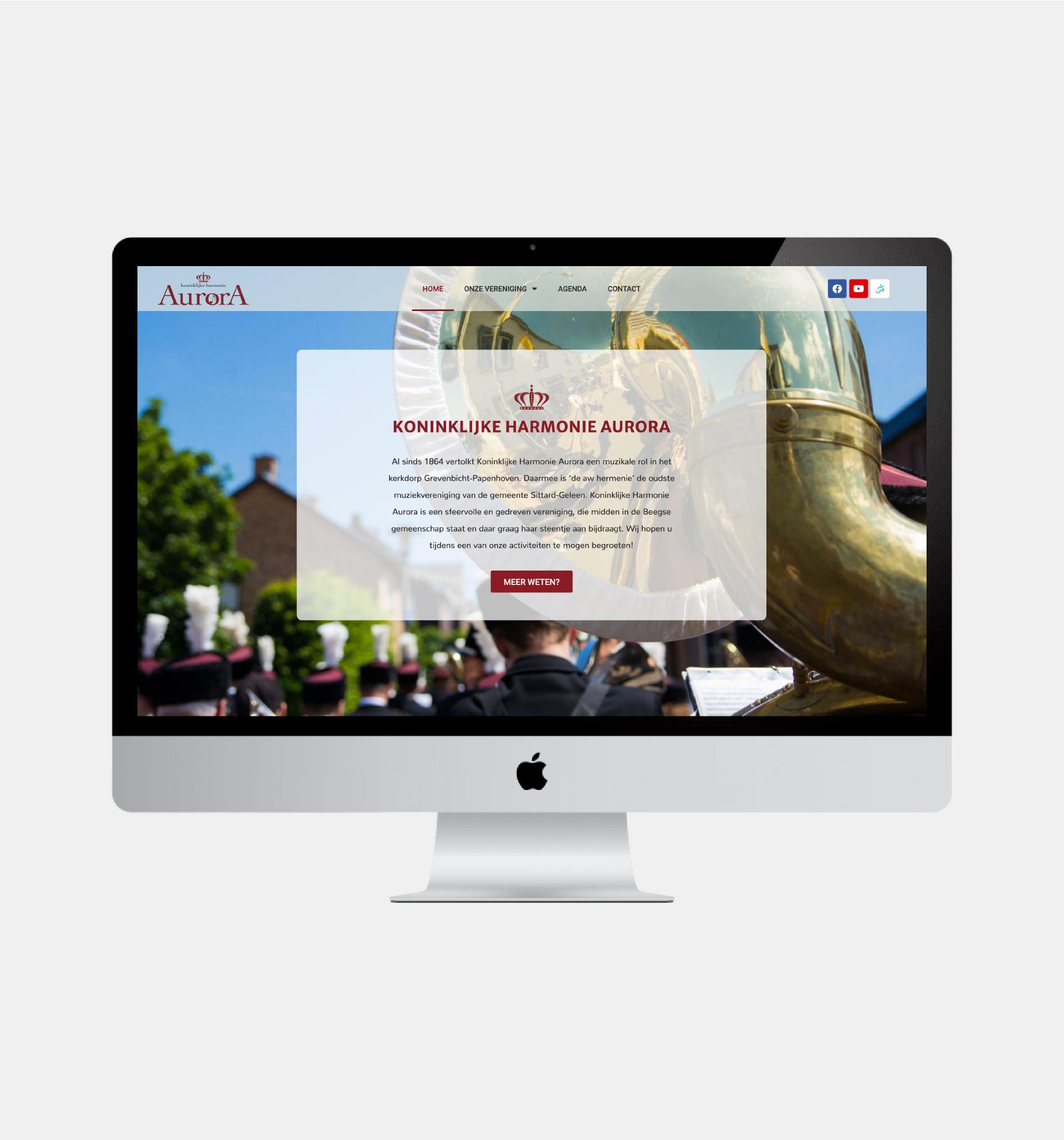 Website Koninklijke Harmonie Aurora, gemaakt door Hermans Creative & Digital Design